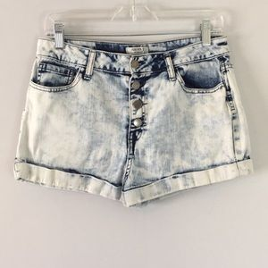 HIGH RISE BUTTON FLY ROLLED HEM SHORTS